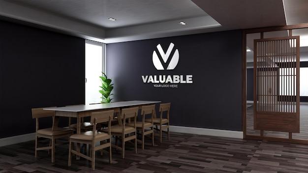 Mockup realistico del logo della parete 3d nella sala riunioni minimalista dell'ufficio in legno