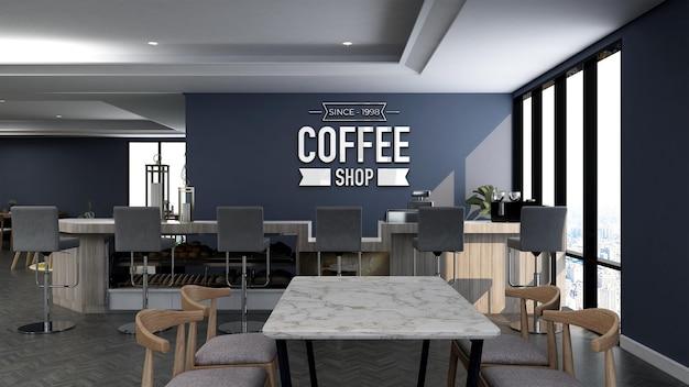 Mockup realistico del logo della parete 3d nell'interno moderno del bar caffetteria