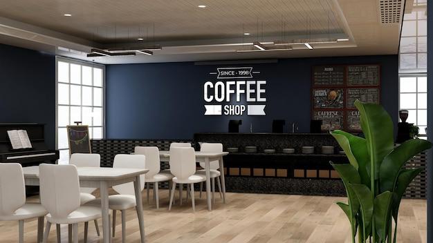 Mockup realistico del logo della parete 3d nell'interno moderno del bar della caffetteria