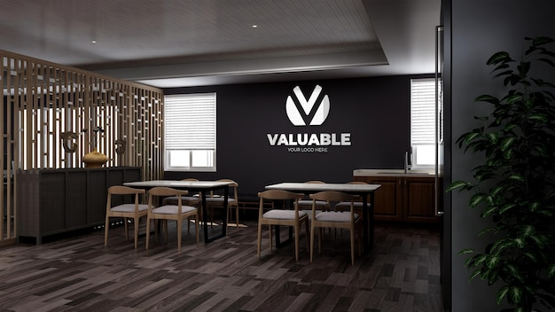 Mockup realistico del logo della parete 3d nella dispensa dell'ufficio o nella stanza della cucina con interni dal design minimalista in legno