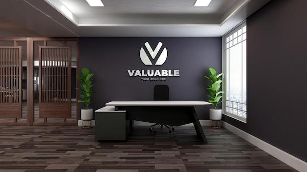 Mockup realistico del logo della parete 3d nella stanza dell'addetto alla reception dell'ufficio