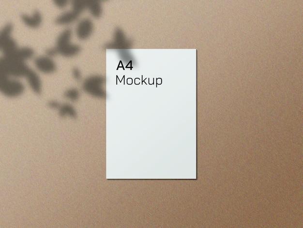 Mockup di carta a4 realistico con ombreggiatura sovrapposta