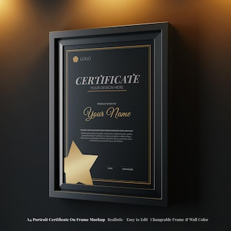 Certificato di fantasia ritratto realistico a4 su telaio mockup appeso in interni di lusso