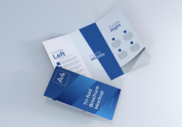Mockup di brochure a tre ante a4 realistico per presentazione