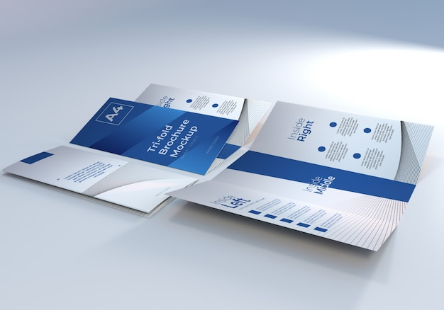 Mockup di carta per brochure a tre ante a4 realistico