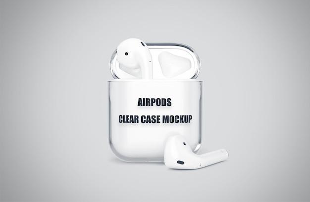 Airpod realistici trasparenti mockup case isolato