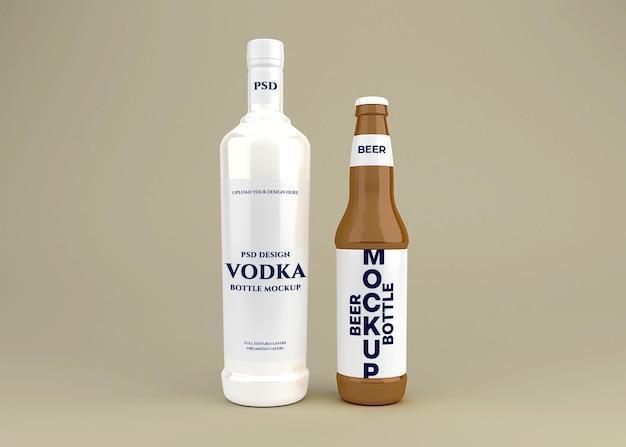 Realistico set di bottiglie di alcol mockup design