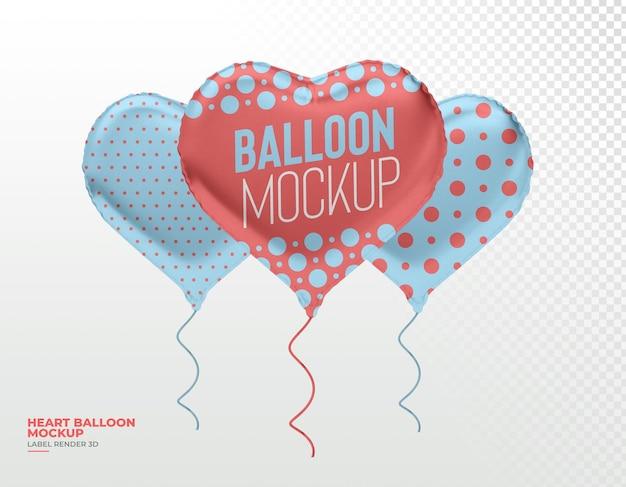 Realistico palloncino cuore 3d rendering