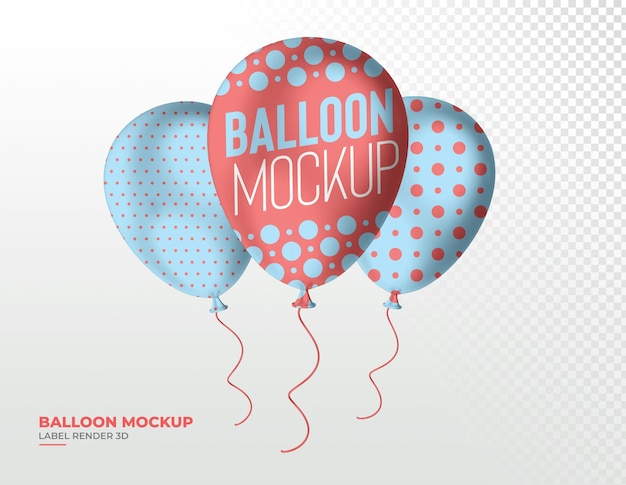 Realistico balloon party 3d rendering