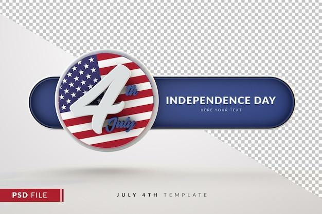 Bandiera realistica 4 luglio giorno dell'indipendenza isolato 3d render