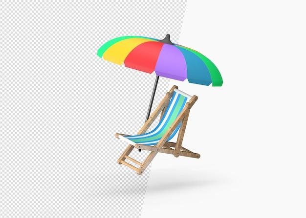 Sedie a sdraio e ombrellone realistici con rendering 3d
