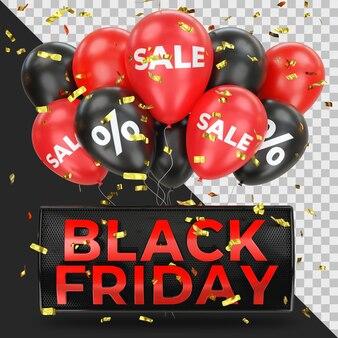 Banner di vendita del black friday realistico con coriandoli dorati