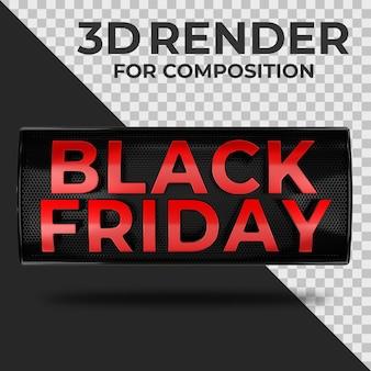 Nastro realistico di vendita del black friday con testo 3d rosso