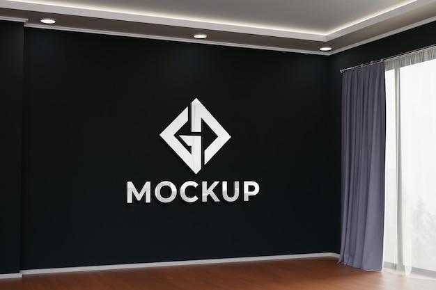Mockup interno 3d realistico a parete nera Psd Premium