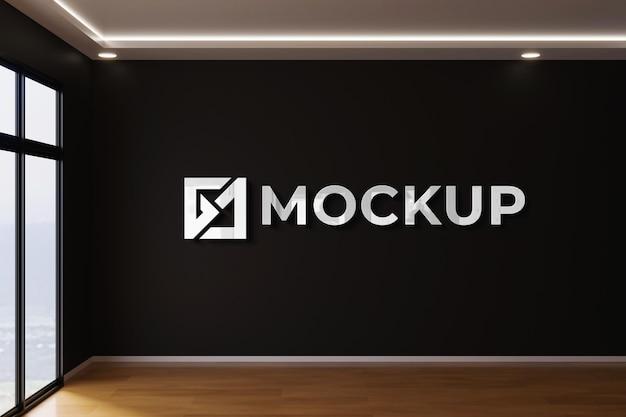 Mockup 3d interno realistico muro nero