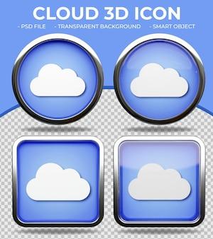 Bottone di vetro blu realistico lucido rotondo e quadrato 3d cloud icon