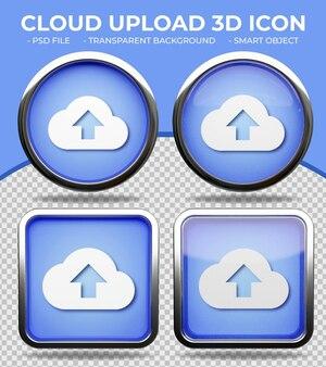 Pulsante realistico di vetro blu lucido rotondo e quadrato 3d cloud upload icon
