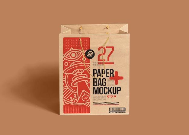 Mockup realistico di sacchetti di carta marrone