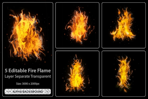 Fiamme di fuoco ardenti realistiche con elementi luminosi brillanti set