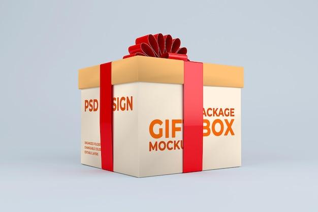 Modello di mockup di scatola regalo di cartone realistico
