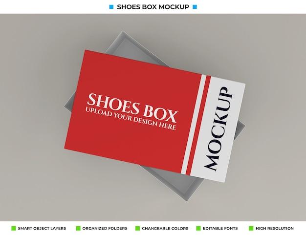 Realistico design di mockup di scatola di scarpe di cartone