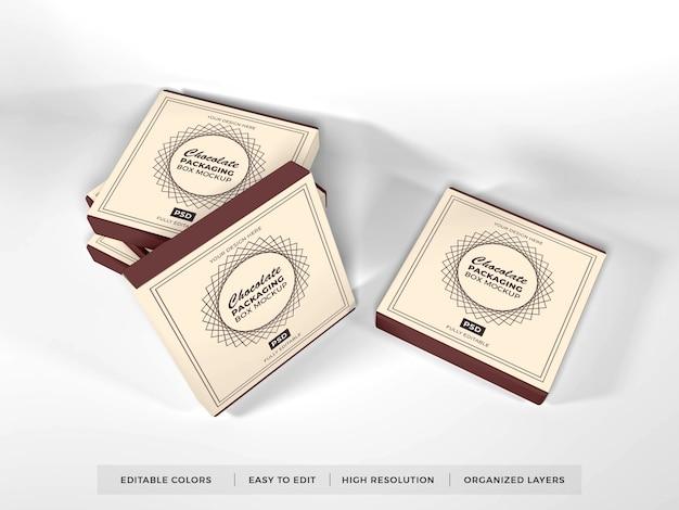 Mockup di imballaggio scatola di cioccolato realistico