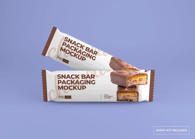 Mockup di confezionamento realistico snack bar al cioccolato