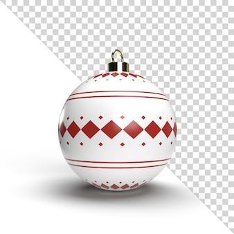 Rendering realistico della palla di natale con il modello dell'oro isolato Psd Premium