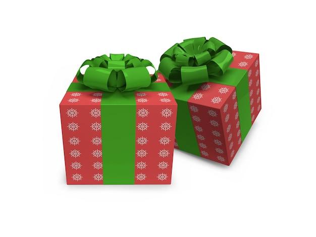Modello realistico di mockup di scatola regalo di natale isolato