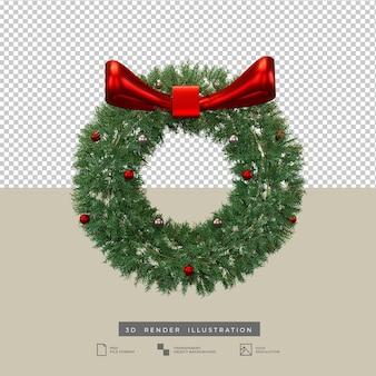 Corona di natale realistica con illustrazione 3d di fiocco rosso