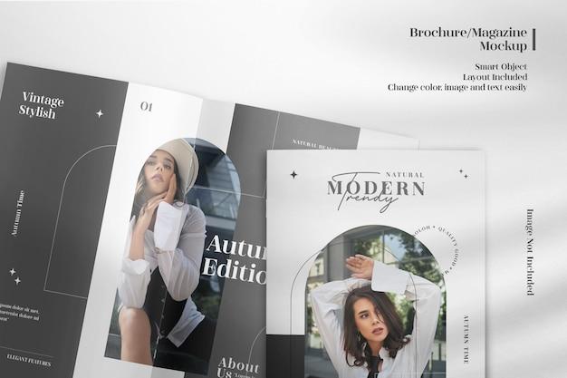 Brochure realistica in primo piano o mockup di riviste
