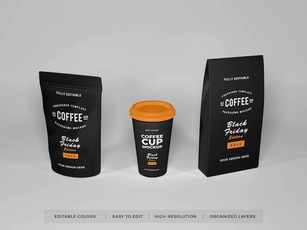 Realistico caffè packaging set mockup
