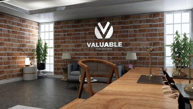 Mockup realistico del logo della caffetteria in bar o ristorante con muro di mattoni