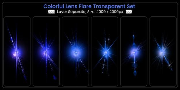 Riflesso di lente colorato realistico con collezione di luci astratte per lenti