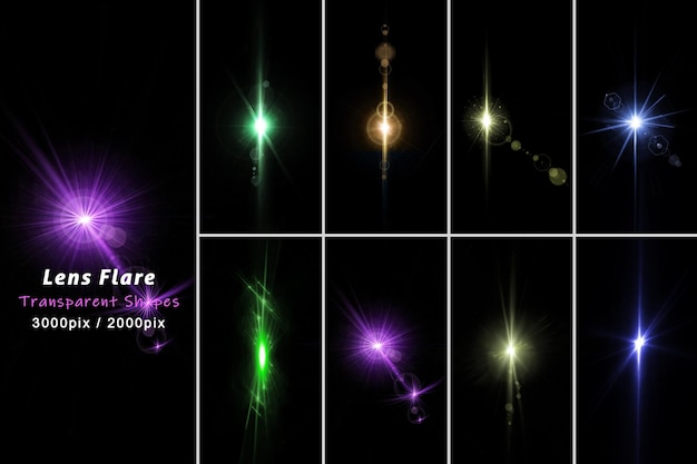 La lente colorata realistica razzi la luce nella rappresentazione 3d isolata