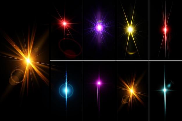 Razzi di lenti colorati realistici e set di luci isolano