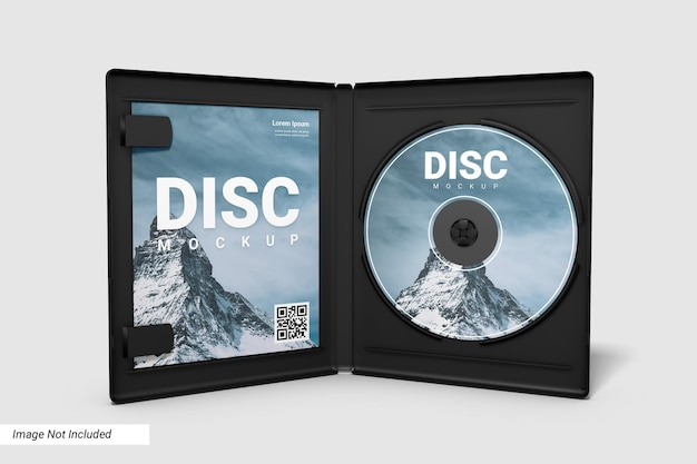 Compact disc realistico e mockup caso aperto
