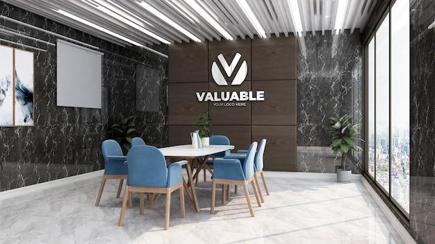 Mockup realistico del logo aziendale nello spazio riunioni dell'ufficio di lusso