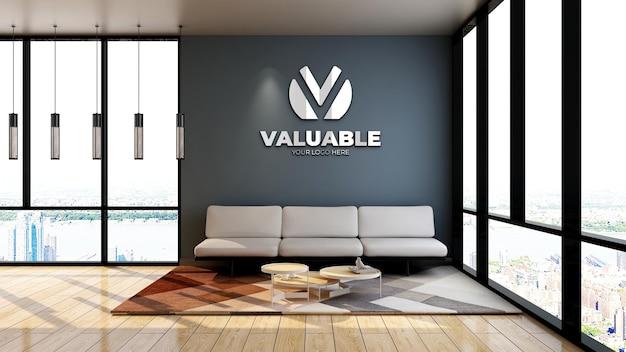Mockup realistico del logo aziendale in una sala d'attesa minimalista della hall dell'ufficio con divano e pavimento in legno