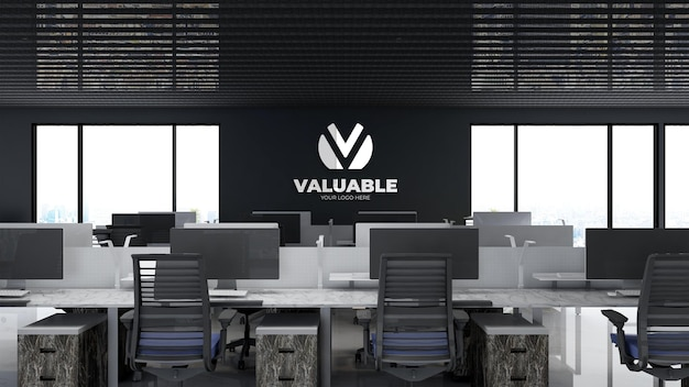 Mockup realistico del logo aziendale nella moderna sala di lavoro dell'ufficio