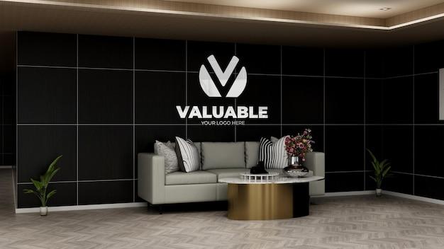 Mockup realistico del logo dell'azienda nella sala d'attesa della hall dell'ufficio con divano