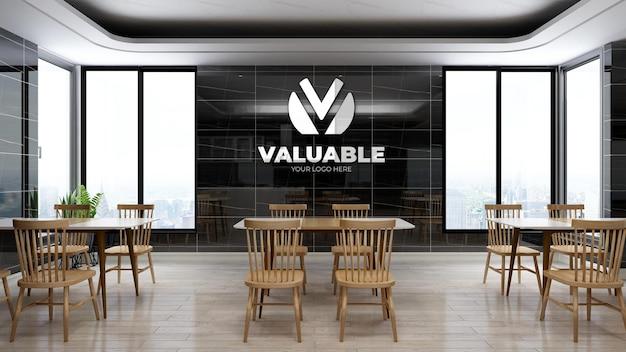 Mockup realistico del logo aziendale nell'area della dispensa dell'ufficio