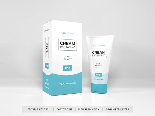 Mockup di imballaggio crema cosmetica realistico