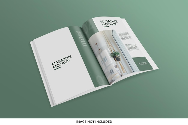 Rivista realistica e creativa o mockup di catalogo