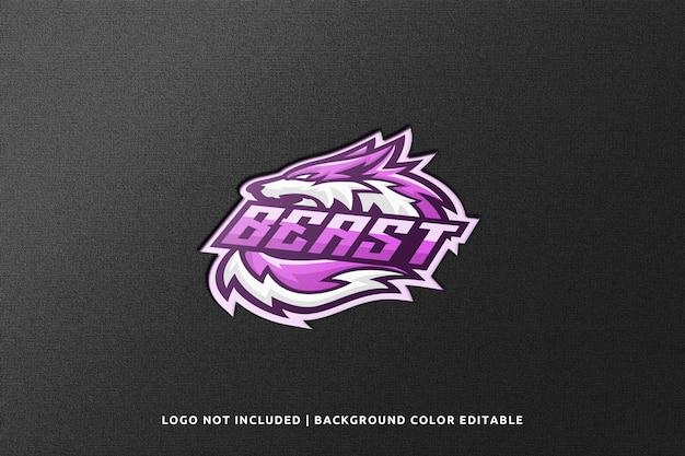Mockup del logo della mascotte di sport 3d inciso realistico