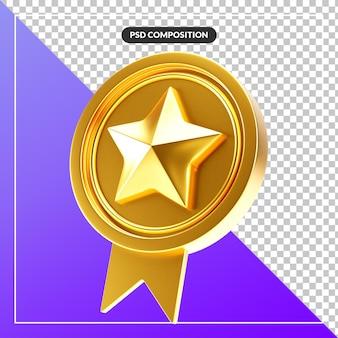 Nastro distintivo stella dorato intagliato realistico ed elegante