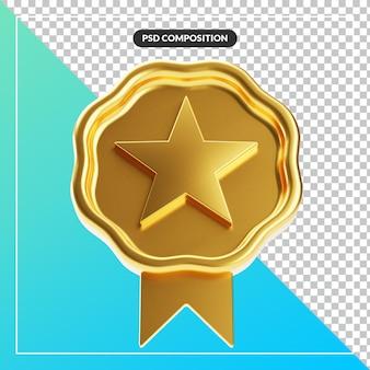 Nastro distintivo con stella d'oro ondulato realistico ed elegante