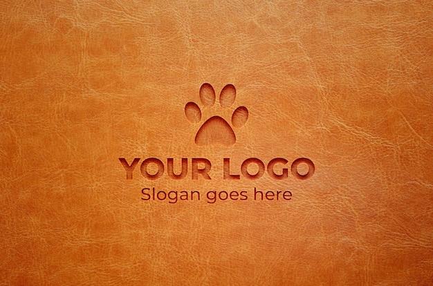 Logo mockup effetto pelle inciso realistico