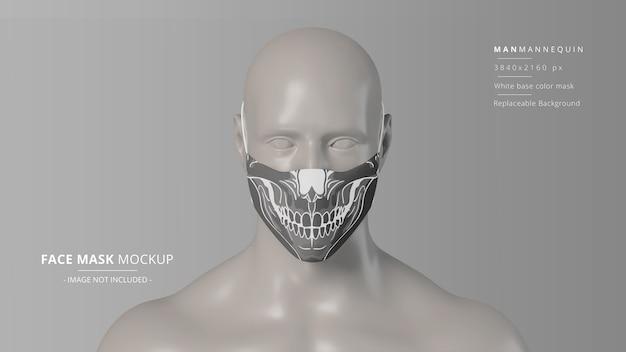 Vista frontale del mockup della maschera facciale in tessuto realistico