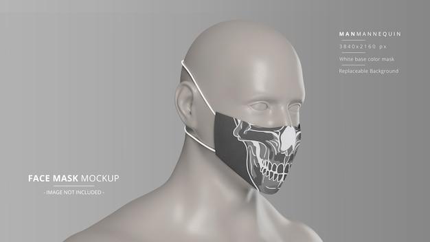 Mockup di maschera facciale in tessuto realistico vista prospettica anteriore destra manichino